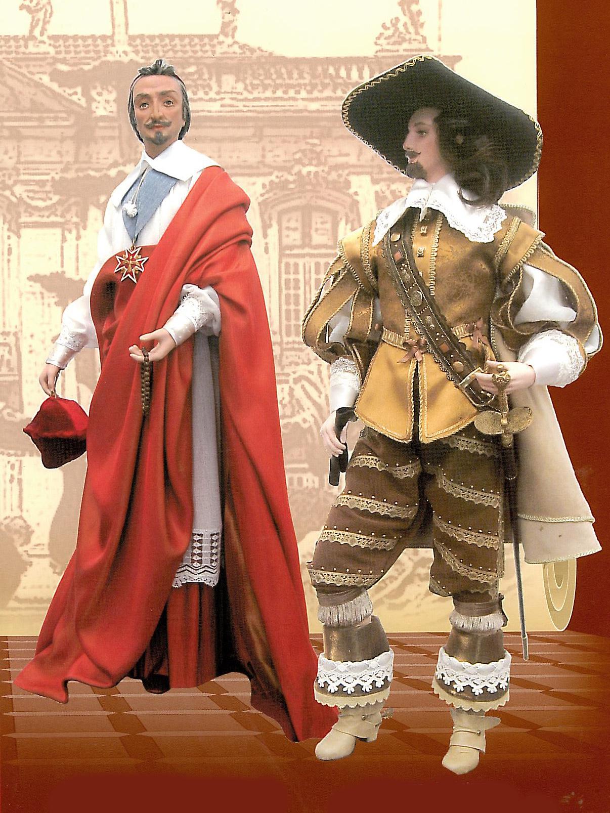 """""""Кардинал Ришелье"""" 74,5 см. """"Мушкетер"""" 77,8 см. Керамика, фарфор, текстиль."""
