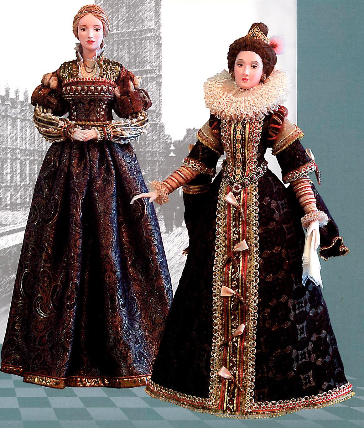 """""""Придворная дама. Италия."""" 75,5 см. """"Придворная дама. Испания"""" 74 см. Керамика, текстиль."""