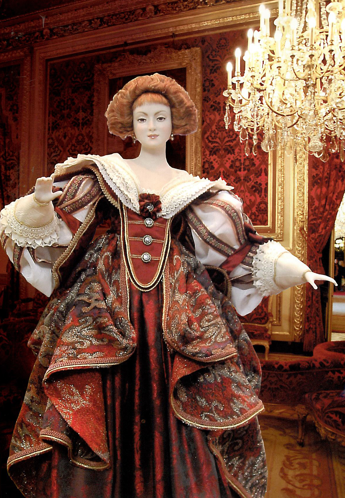 """Знатная дама двора Людовика XIII"" 77,8 см. Керамика, фарфор, текстиль."